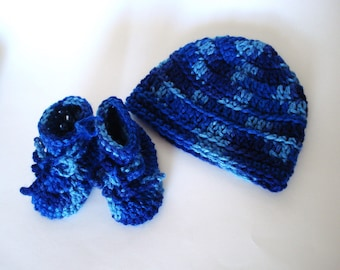 Baby Boy Shades of Blue Beanie and Matching Boots
