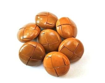 6 Vintage leather buttons 25mm, metal shank light brown