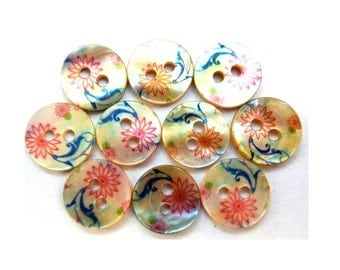 10 Shell buttons floral ornament in beautiful colors 11.5mm GREAT for button jewelry