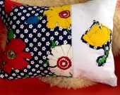 Vintage barkcloth floral navy pillow cover