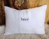 White linen beer letter pillow