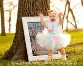Baby Girl 1st Birthday Tutu Outift - Aqua Blue and Pink Tutu - Cake Smash Set