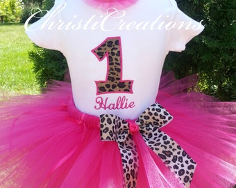 Baby Girl First Birthday Outfit - 1st Birthday Tutu - Leopard Birthday - Girls Cake Smash Outfit