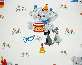1930s Vintage Wallpaper by the Yard - Children's Wallpaper with Teddy Bear Drumming, Little Puppies, and Flowers, Nursery Wallpaper
