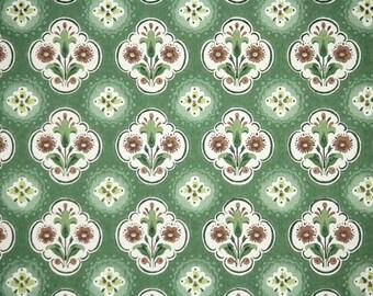 1940's Vintage Wallpaper - Green and Brown Folk Art Geometric Floral