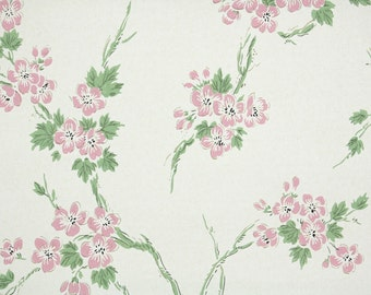 1940's Vintage Wallpaper - Floral Wallpaper with Green Branches of Pink Flowers on White