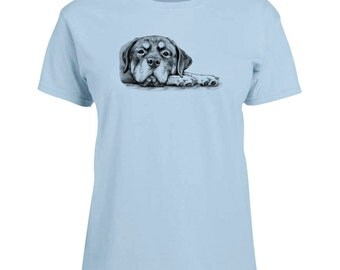 Ladies T-shirt Rottie on Paws Rottweiler Dog Art Sizes XS-2X