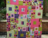 Helsinki Square Dance Lap Quilt, Sofa Throw, nap quilt, sofa blanket, lap blanket, Scandi style in bright green, pink and purple