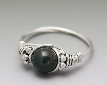Bloodstone Heliotrope Bali Sterling Silver Wire Wrapped Ring ANY size