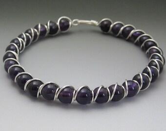 Dark Amethyst Beaded Sterling Silver Wire Wrapped Bracelet