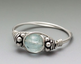 Blue Topaz Bali Sterling Silver Wire Wrapped Bead Ring ANY size