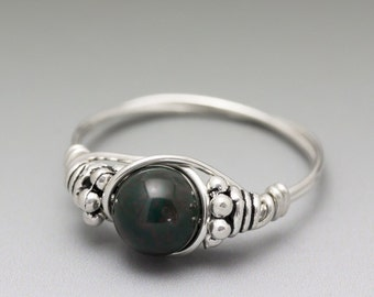Bloodstone Heliotrope Bali Sterling Silver Wire Wrapped Bead Ring - Made to Order, Ships Fast!