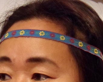 Multicolor Hippie headband Handmade Blue Red Gold Daisy Embroidery 21 up half inch wide boho toddler girls woman Gypsy!