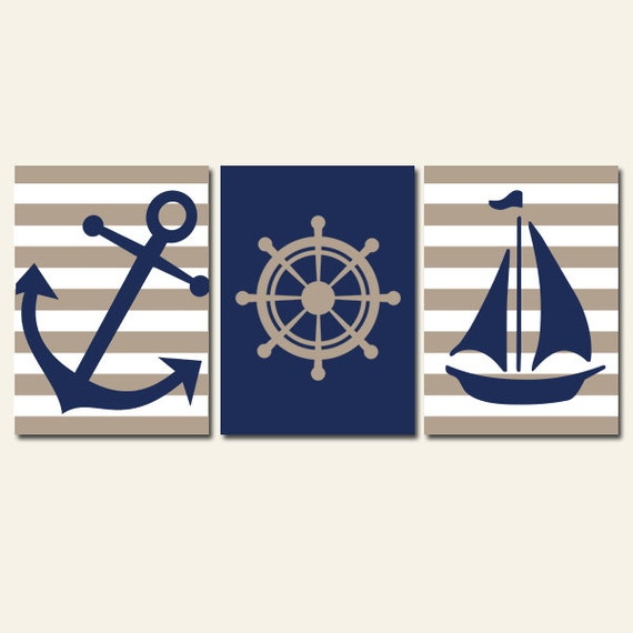 Nautical Wall Art CANVAS or Prints Ocean Preppy by TRMdesign