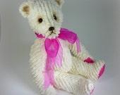 Miss Fuchsia - On Sale, Teddy Bear, Handmade, Chenille, Plushie, Stuffed Animal, 13 Inch