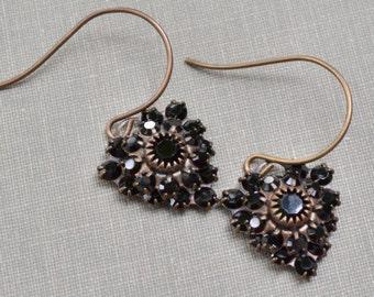 Jet Black Heart Estate Earrings Old Hollywood Black Crystal Antiqued Brass Vintage Bride Vintage Wedding Bridesmaid Jewelry Gift for Her