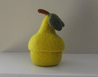 Pear Jar with Removable Lid - Felted - Bowl - mymarketstall original - In Stock - Reado to Ship