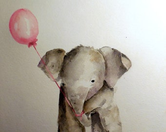 CUSTOM Baby Elephant painting original nursery watercolor art Made to Order with balloon color of choice Animal of choice TREASURY item