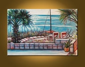 SALE! Hobie Cat on the Beach -- 24 x 36 inch Original Oil Painting by Elizabeth Graf on Etsy, Vintage Painting, Art Painting