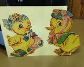 Vintage Die Cut Cardboard Easter Chick and Duck 1950s #11 Epsteam