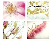 Botanical Photography Set - pink and gold yellow - pink wall art - nursery room - four nature prints photo set -  5x7 11x14 prints