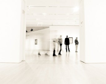 Abstract minimal white wall art - monochrome photography - city urban architecture art - people - modern wall art print 'Day at the Museum'