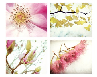 Botanical Photography Set - pink and gold yellow - pink wall art - nursery baby room art - four nature prints photo set -  5x7 11x14 prints