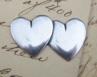 SALE Silver Double Heart Finding 3396H2