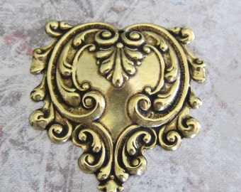 NEW Ornate Brass Repousse Finding 2843B