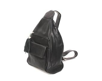 TRIANGLE black leather 80s 90s KNAPSACK hobo grunge FRINGE backpack