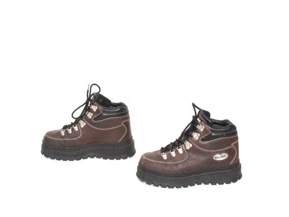 Size 8 5 Skechers Brown Leather 80s 90s Chunky Platform Grunge