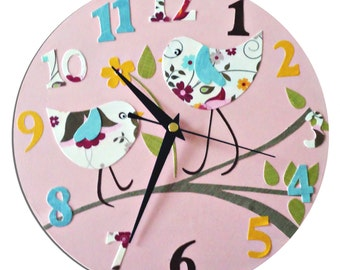 Bird Clock - Personalized  / Children's wall Clock  - Personalised/ Nursery Clock / Blue, Pink, Yellow