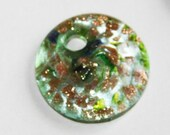 1 piece of  Green  foil lampwork flat round 25mm