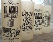 Retro Wedding Signs Vellum Luminaries - He Asked, She Said Yes, Fall in Love, Once in Life, Once Upon a Time