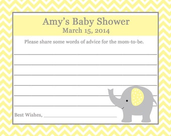 24 Personalized Baby Shower Advice Cards   ELEPHANT
