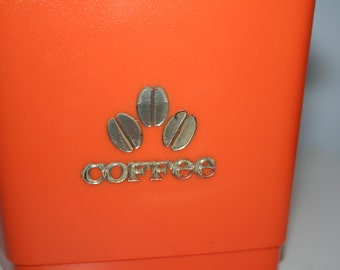 Vintage Orange Plastic Coffee Canister or Container