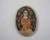 autumn stories - an embroidery artwork brooch - wearable art