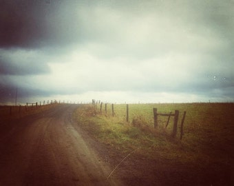The Road, cool tones, dark art, moody haunting, minimalist, rustic decor, stormy, rural, autumn farm, winter pasture, landscape print, gray