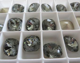 1 Black Diamond Foiled Swarovski Crystal Square Cushion Cut Stone 4470 12mm