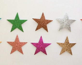 Glitter Star Die Cut Stickers 1-1/2 Inch Size - 10 Colors Available - Embellishments Scrapbook Art Craft Greeting Cards Holiday School Paper