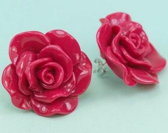 Big Fuchsia Lucite Rose Post Earrings 33mm