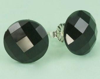 Vintage Black Faceted Lucite Post Earrings 10mm