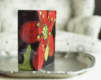 Vase, Pottery Vase, Flower Vase, Square Vase, Box Vase, Red Poppy Floral Vase, Ceramic Vase, Gift for Mom, Gardener Gift, Modern Home Decor