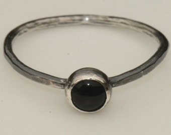 Black Onyx Ring Fine Silver Size 7 .75 Oxidized Blackened Silver Ring Handmade Stacking Ring Thin Band Small Stone by Maggie McMane Designs