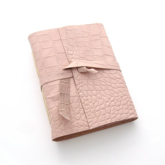 Spring Pink Leather Journal, Pink Leather Sketchbook, Pastel Leather Book, Handmade Pink Notebook,