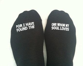 "Grooms Socks ""For I Have Found The One Whom My Soul Loves' Bible Verse Wedding Gift Idea, Mens Wedding Socks, Groom Wedding Attire"