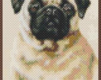 Pug,  Beaded Tapestry Pattern