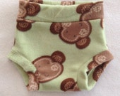 Diaper Cover --- Green and Brown Monkey Anti Pill Fleece