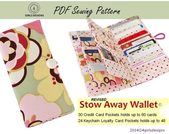 Stow Away Wallet Instant Download pattern(revised): Credit Card Organizer-holds up to 60 Credit Cards and 48 Loyalty Cards
