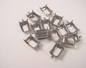 16 silver  Ox antique style Octagon Prong Setting charm 1 ring 14x10 open back